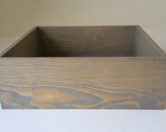Stained Dark Walnut 10 x 5 x 5 Wood Box For Wedding Centerpieces Or Home Decor