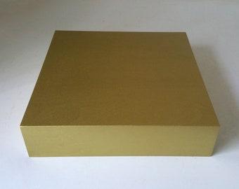 "Gold Display Riser 12 x 12 x 3"" Plinth Display Flower Pedestal Wedding Centerpiece Home Decor  (12x 12x 3"" Risers.Painted Gold Metallic)"