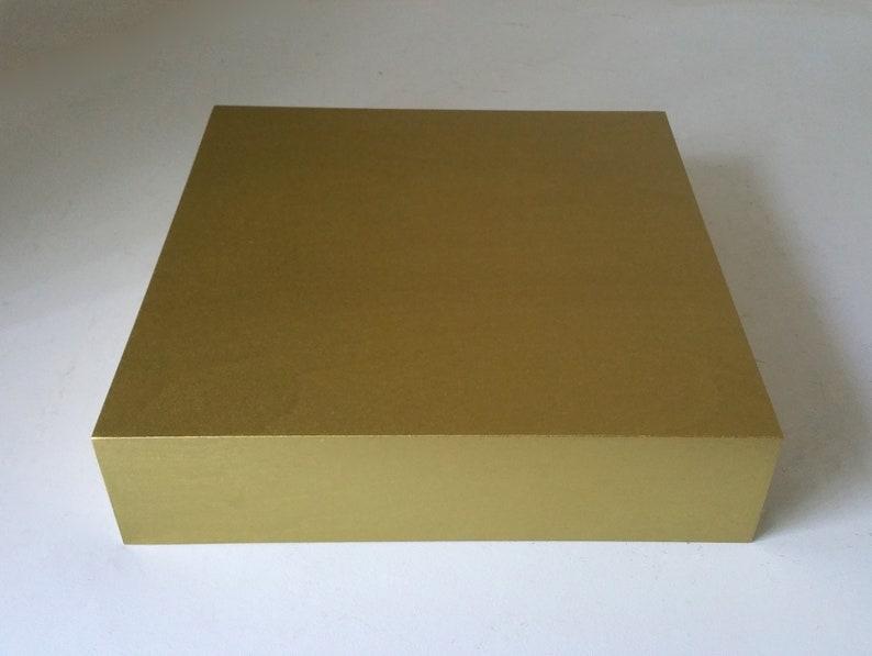 Gold Display Riser 12 x 12 x 3 Plinth Display Flower image 0