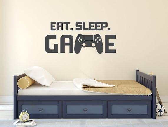eat. sleep. game vinyl wall decal gaming decals   etsy