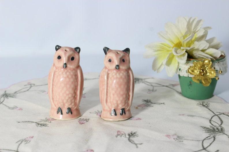 RARE Salt and Pepper Shakers Set Vintage Porcelain Pink Owls Miniature Figurines