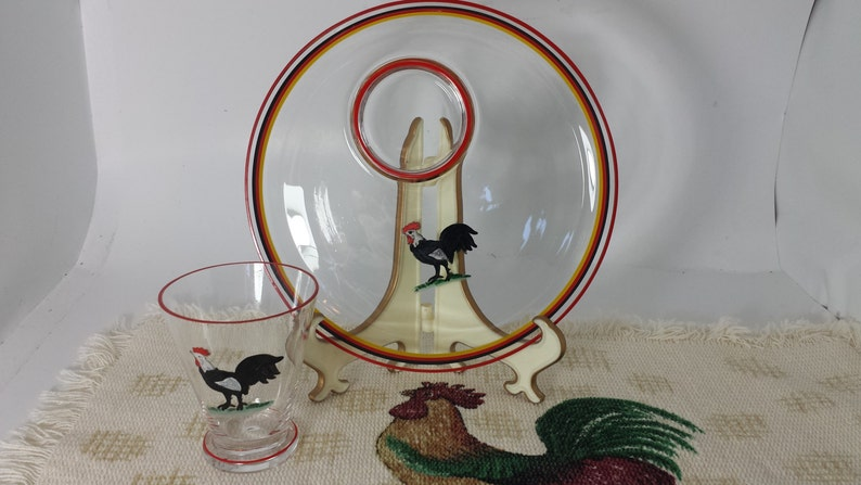 Plate and Cup Snack Tray Blown Glass Set of 12 Plates and Cups Set Rare Antique Unique Hand Painted Rooster Individual Serving Tray