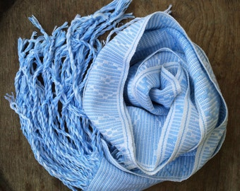 Blue Scarf Vintage Woven Organic Cotton Chevron Scarf Hand Dyed, Tribal Hmong, Eco Friendly, Blue Wrap, Blue Winter Scarves, Winter Scarf