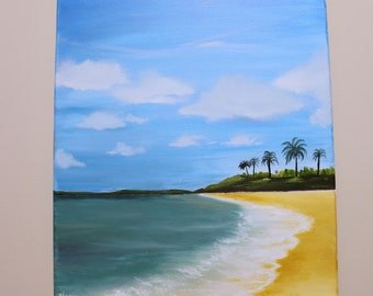 Escape To The Beach Painting, Water Painting, Palm tree Painting