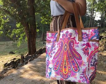 Tile Gift for her Bohemian Totes Bridesmaid Gift Weekender Bag Large Tote Canvas bag Hippie bag Boho Bag school supplies