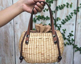 Vintage Handbag Straw Bag Market Hand bags Beach Bags burlap bags jute bags seagrass bag wicker bag Woven Bag