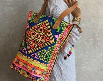 Neon Bag Tile style Beach bag / Bridesmaid Gift / Shopping bag / Beach totes / Boho tote Summer Outdoors / Bachelor Party