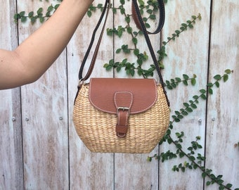 Cute Small Straw Bag / straw handbag / Summer Hand bag / straw tote / straw purse Shoulder Bag / seagrass bag / wicker bag