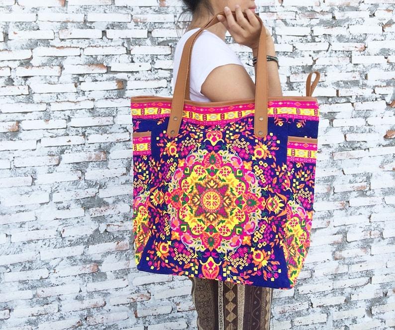 ff774ebd6226 Navy Weekender Bag Summer Large Tote Canvas bag Colorful Neon Printed  Tribal Hippie bag Beach bag Boho Bag Beach Purse