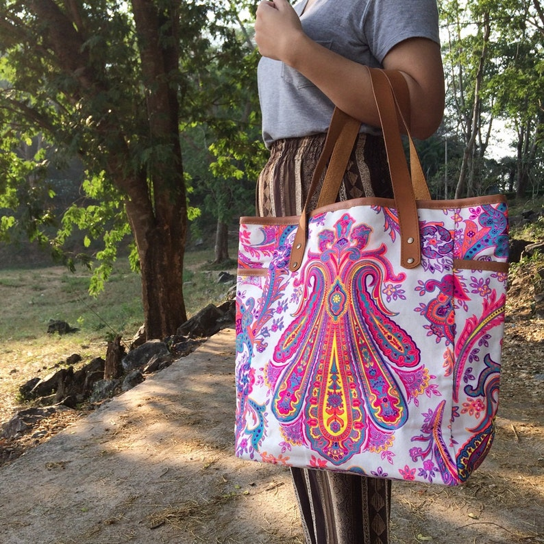 5d045711731d Weekender Bag Summer Large Tote Canvas bag Colorful Neon Printed Canvas  Tribal Hobo Hippie bag Weekender bag Beach bag Boho Bag Beach Purse