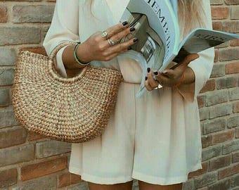 Mia Straw Bag / Straw handbag / Straw basket / Beach Bag / Straw tote / Bridesmaids / Wicker Bag / Tote Bag for Summer