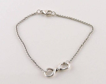 "Sterling Silver Twisted Loop Chain Bracelet 7 1/2"""