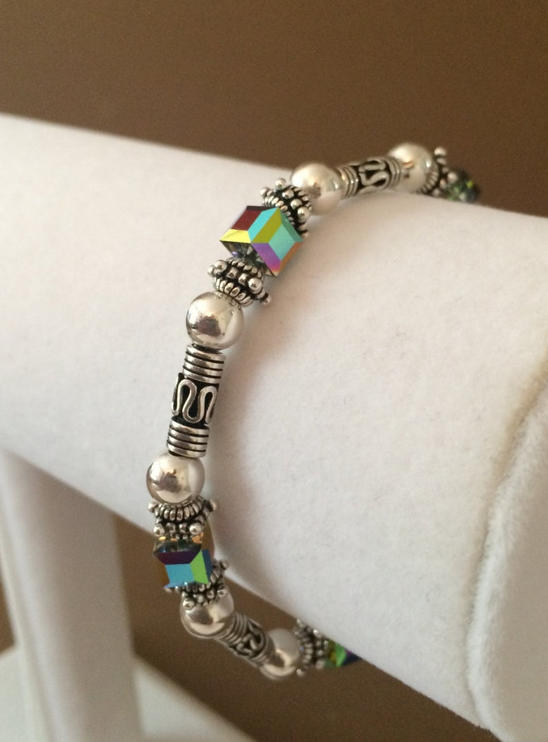 Sterling Silver And Crystal Toggle Link Bracelet 7 12