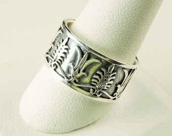 Size 10.5 Sterling Silver Textured Wide Band Ring