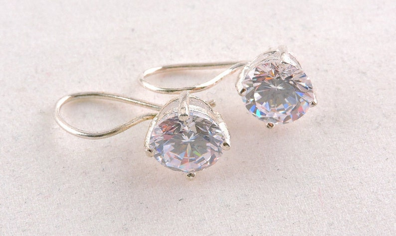 Sterling Silver Round Cut Cubic Zirconia Drop Earrings