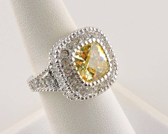 Size 7 Silver Tone 4ct Yellow Checkerboard Center Stone Ring With Accent Stones