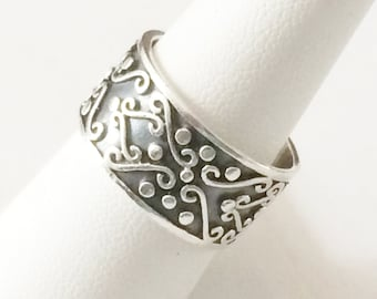 Size 9 Sterling Silver Textured Wide Band Ring