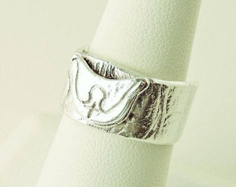 Size 7.5 Sterling Silver Textured Preacher With Cross Ring