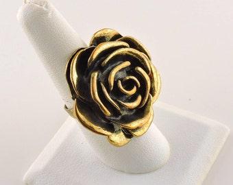 Size 8 Adjustable Gold Tone Rose Ring