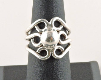 Size 7 Sterling Silver Sunburst Fixed 3 Band Ring