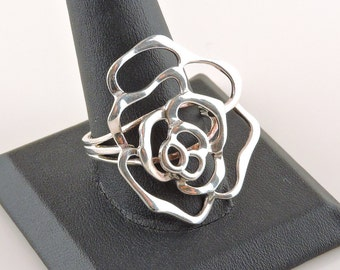 Size 12 Sterling Silver Filigree Rose Ring
