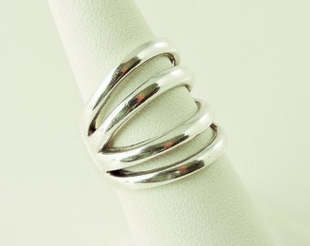 Size 7 Sterling Silver Fixed 4 Band Ring
