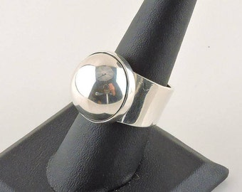 Size 8 Sterling Silver Half Sphere Wide Band Ring (12.3 grams)