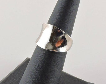 Size 6 Sterling Silver Curved Wide Band Ring