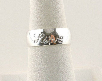 "Size 7 Sterling Silver Wide Band ""Love"" Ring"