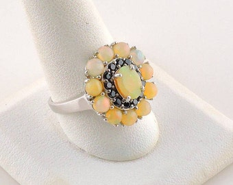 Size 11 Sterling Silver 3.71cttw Ethiopian Opal Multi Stone Ring With Black Onyx Accents