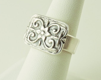 Size 7.5 Sterling Silver Wide Band Textured Ring