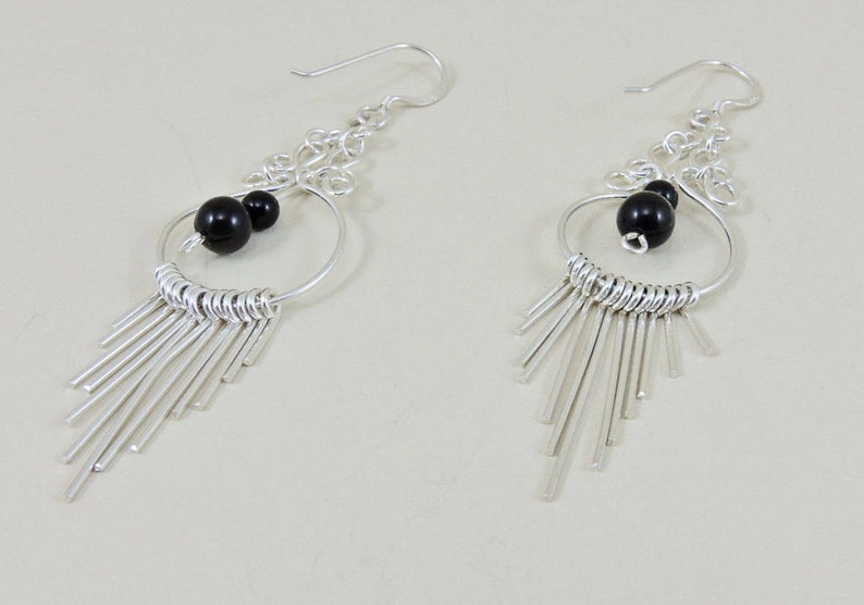 6.2 grams tw Sterling Silver Black Glass Bead And Multi Sterling Rod Hoop Dangle Earrings
