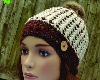 Winter Hat, Crochet Hat, Handmade Beanie, Pompom