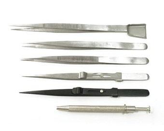 Diamond Tweezers Set of 6 Jewelry Tools Steel Tweezer Kit - 57-1554