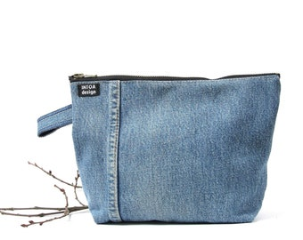 Denim Cosmetics Bag of Recycled Jeans, Medium Blue