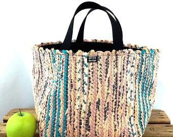 "Basket of Recycled Rag Rugs, M, 25 cm (10"")"