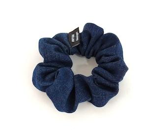 Denim Scrunchie of Recycled Jeans, Dark Blue
