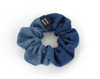 Denim Scrunchie of Recycled Jeans, Medium Blue
