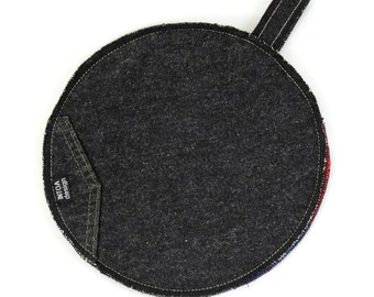 Denim Pot Holder of Recycled Jeans, Grey