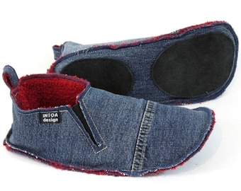 Denim Slippers of Recycled Jeans, adults, with rubber bands