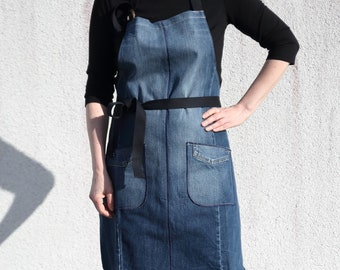 Denim Apron of Recycled Jeans, Blue