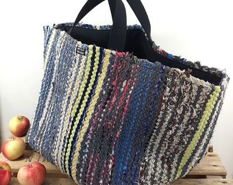 "Basket of Recycled Rag Rugs, L, 30 cm (12"")"