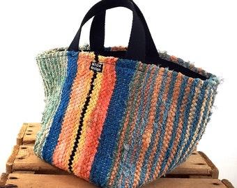 "Basket of Recycled Rag Rugs, S, 20 cm (8"")"