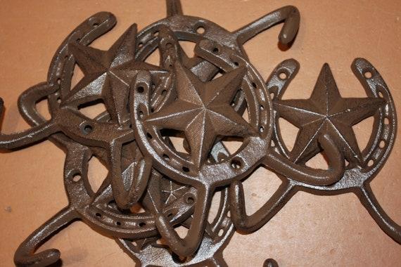 "SET//2 ~3 1//2/"" x 2 1//2/"" Cast Iron Rustic Steer Long Horn Coat Towel Wall Hooks"