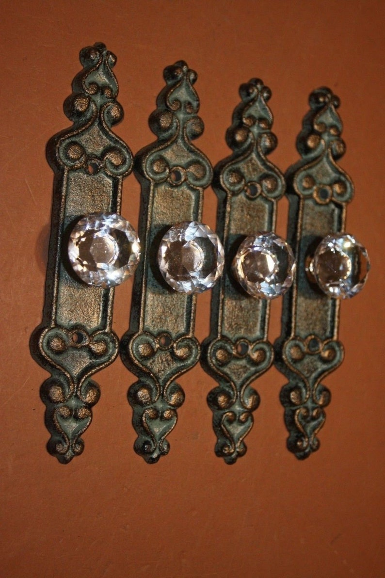 HW-25 Bronze Look Cast Iron 7 inches Antiqued Look Crystal Knob Kitchen Cabinet Cupbard Pull Handle
