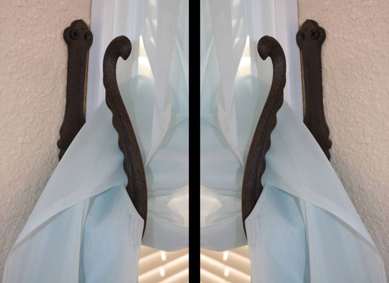 Victorian Curtain Tiebacks Elegant Swirl Design Holdbacks Cast Iron free ship HW-52 8 high
