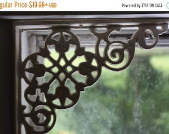 14 % OFF Antique-look Cast Iron Window Corner Corbels,  6 1/4 inch, Free Shipping, Country Cottage Flower Design, Cast Iron, B-11~