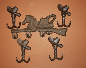 10)pcs, Rustic western wall decor, cowboy ranch coat hook,rustic cowboy hat hook,horse lover decor,Cast iron, Free shipping, W-12,6