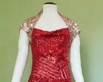 eab659a245a Red Sheer Sequined Mesh Cocktail Dress with Champagne Contrast   Stage  Costume   Awards Ceremony