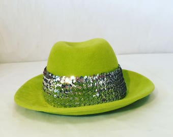 7c2bdc2b1e0db Lime Green Hand-Blocked Felt Fedora with Silver Sequined Hat Band   Ladies  Headwear   Wool Felt Hat   Costume   Fashion Accessory